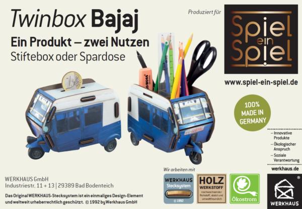 Unser Bajaj – produziert von Werkhaus: patentiertes System, Ökostrom, produziert in Deutschland, soziale Verantwortung–super!