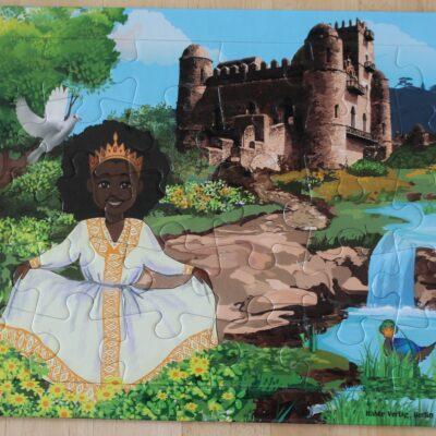 Dieses Puzzle zeigt Fasiledes Castle in Gondar, dem Wahrzeichen dieser Stadt in Äthiopien.