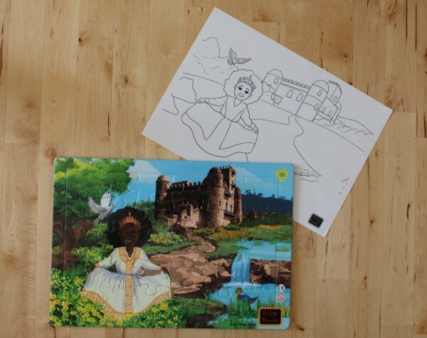 Jedem Puzzle ist auch noch einmal ein Blatt mit selbem Motiv zum selbst ausmalen beigelegt.