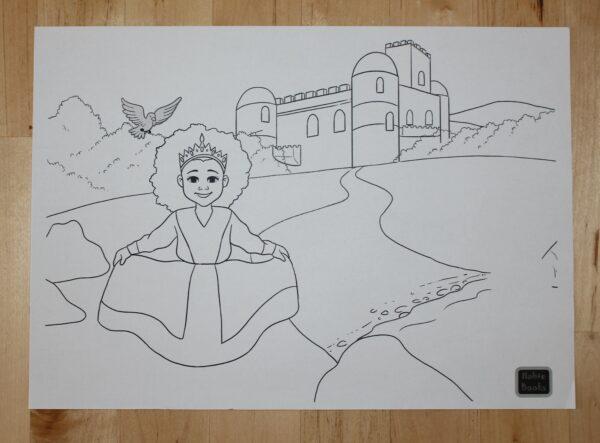 Ein gelbes Kleid? Blumen auf der Wiese? Mit dieser Malvorlage ist der Kreativität der Kinder keine Grenze gesetzt.