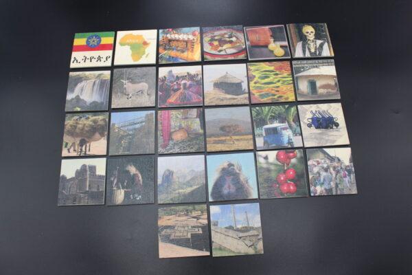 Ein Bild aller Motive des Memo-Spiels aus Holz mit den Highlights aus Äthiopien.