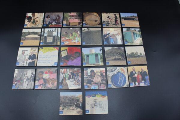 Gesamtbild mit allen Memo-Karten aus Holz im Spiel. Mit weiteren Projekten wird sich dieses Memo-Spiel weiter entwickeln.