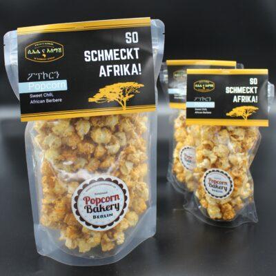 """Sie lieben Popcorn? Probieren Sie unser Popcorn """"Sweet-Chili"""" – entweder zum Testen im 0,5 Liter-Beutel; das entspricht rund 35 Gramm."""