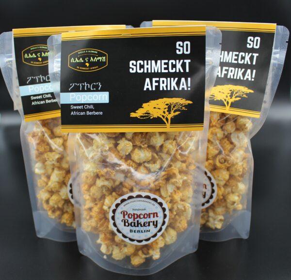 Unter Sweet können sich viele etwas vorstellen. Chili bedeutet, dieses Popcorn ist eine Kombination mit äthiopischem Berbere.