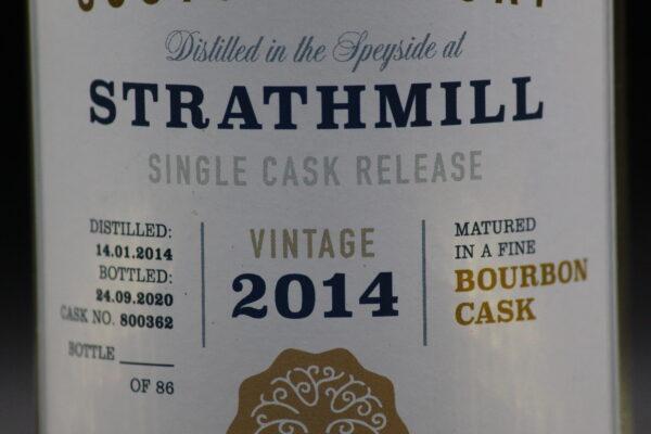 Das Besondere: Dieser Strathmill-Whisky wurde am 14.01.2014, also 11 Tage nach der Gründung des Vereins, gebrannt